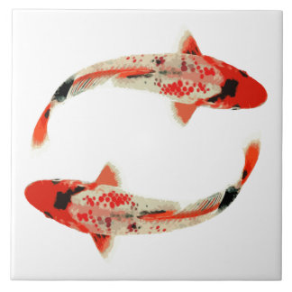 Red, White, and Black Koi Fish Tile
