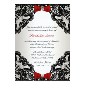 Red, white and Black lace Sweet 16 Card
