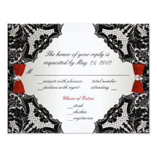 Red, white and Black lace Wedding RSVP 11 Cm X 14 Cm Invitation Card