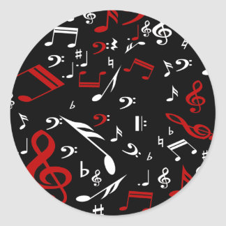 Red White and Black Musical Notes Round Sticker