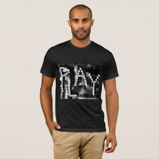 Red, White, and Black PLAY Art Texture T-Shirt