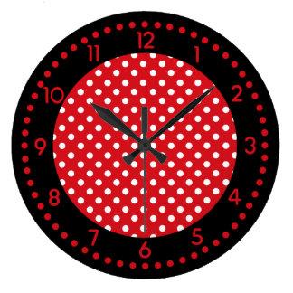 Red, White, and Black Polka Dot Clock w/Numbers
