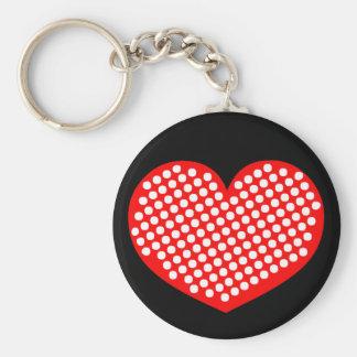 Red White and Black Polkadot Heart Key Chain