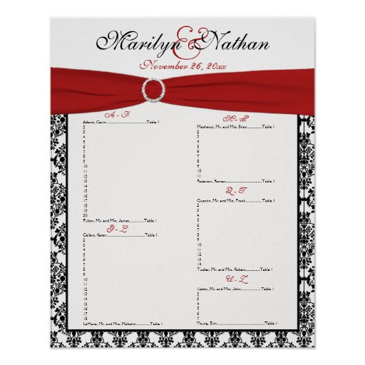 Red, White, and Black Reception Seating Chart Posters