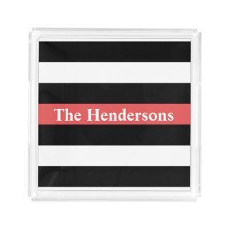 Red, White and Black Striped Personalized Acrylic Tray