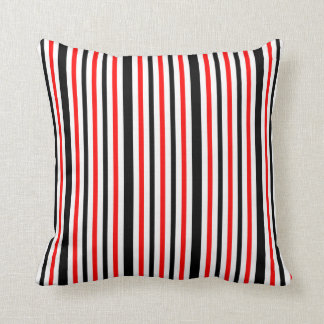 Red White and Black Stripes Cushion