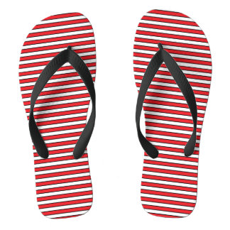 Red, White and Black Stripes Thongs