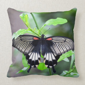 Red, White and black swallowtail butterfly pillow