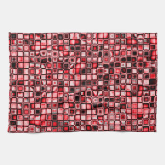 Red, White And Black Textured Grid Pattern Tea Towel