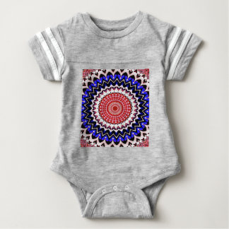 Red White and Blue 4th of July Mandala Pattern Baby Bodysuit