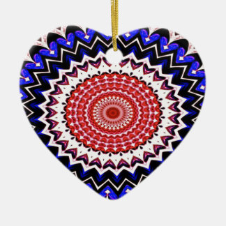 Red White and Blue 4th of July Mandala Pattern Ceramic Ornament