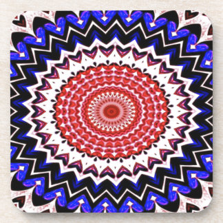 Red White and Blue 4th of July Mandala Pattern Coaster