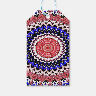 Red White and Blue 4th of July Mandala Pattern Gift Tags