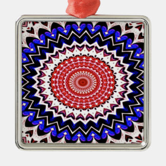 Red White and Blue 4th of July Mandala Pattern Metal Ornament