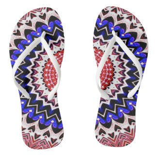 Red White and Blue 4th of July Mandala Pattern Thongs
