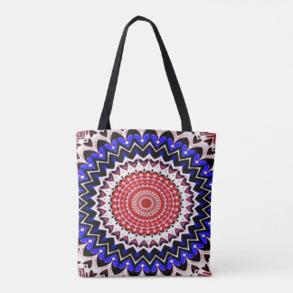 Red White and Blue 4th of July Mandala Pattern Tote Bag