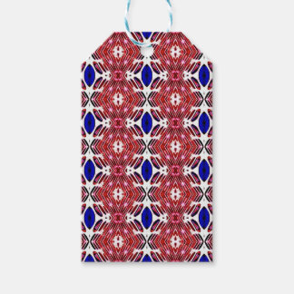 Red White and Blue 4th of July Tribal Pattern Gift Tags