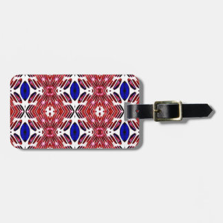 Red White and Blue 4th of July Tribal Pattern Luggage Tag