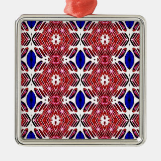 Red White and Blue 4th of July Tribal Pattern Metal Ornament