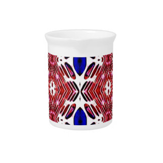 Red White and Blue 4th of July Tribal Pattern Pitcher