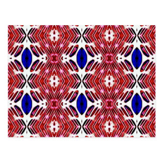 Red White and Blue 4th of July Tribal Pattern Postcard