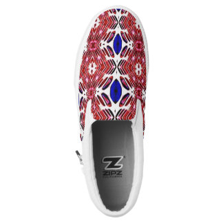 Red White and Blue 4th of July Tribal Pattern Slip-On Shoes