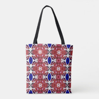 Red White and Blue 4th of July Tribal Pattern Tote Bag