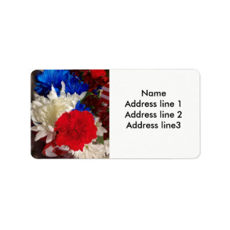 Red, white and blue address labels