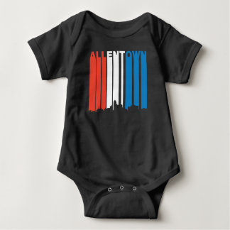 Red White And Blue Allentown Pennsylvania Skyline Baby Bodysuit