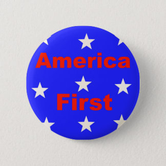 """Red, White, And Blue """"America First"""" Design 6 Cm Round Badge"""