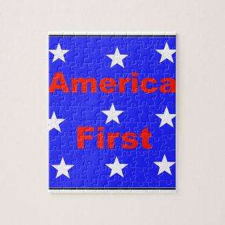 """Red, White, And Blue """"America First"""" Design Jigsaw Puzzle"""