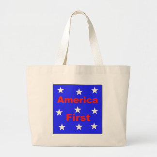 "Red, White, And Blue ""America First"" Design Large Tote Bag"