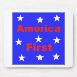"""Red, White, And Blue """"America First"""" Design Mouse Pad"""
