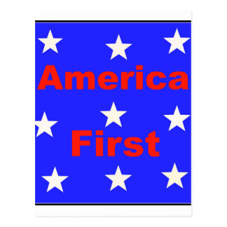 """Red, White, And Blue """"America First"""" Design Postcard"""