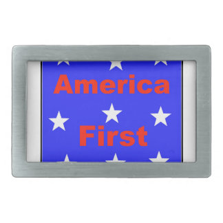 """Red, White, And Blue """"America First"""" Design Rectangular Belt Buckles"""