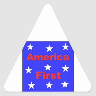 "Red, White, And Blue ""America First"" Design Triangle Sticker"