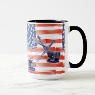 Red White and Blue American Flag Operators Vintage Mug