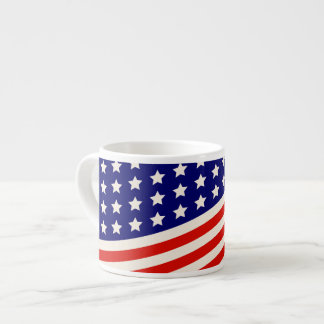 Red White and Blue American Flag Stars and Stripes Espresso Cup