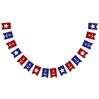Red White and Blue Anchors and Stars Bunting