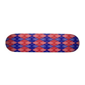 Red White and Blue Argyle Plaid Skate Decks