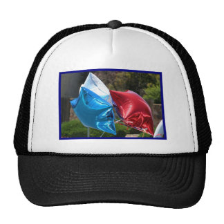 Red White and Blue balloons cap Mesh Hat