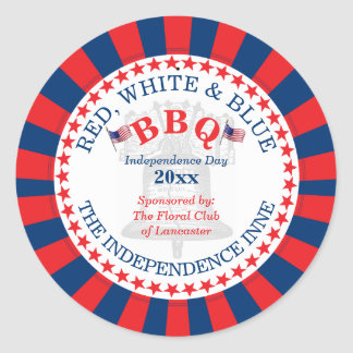 Red, White and Blue BBQ 4th of July Party Round Sticker