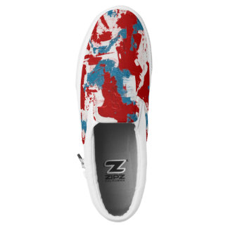 Red, White and Blue Brushstrokes Slip On Shoes