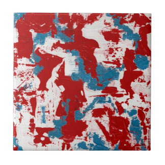 Red, White and Blue Brushstrokes Tile