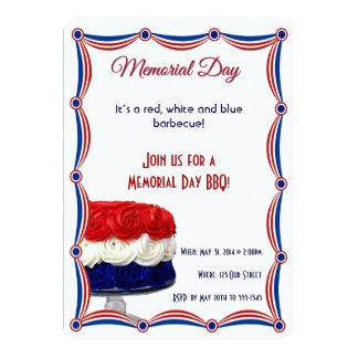 Red White and Blue Bunting Cake Memorial Day Card