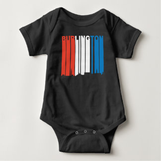 Red White And Blue Burlington Vermont Skyline Baby Bodysuit