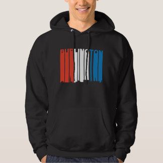 Red White And Blue Burlington Vermont Skyline Hoodie