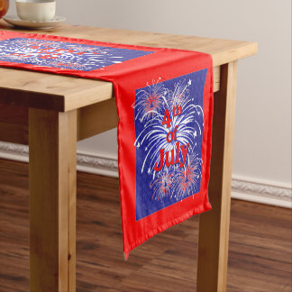 Red, White and Blue Bursting Fireworks Small Short Table Runner