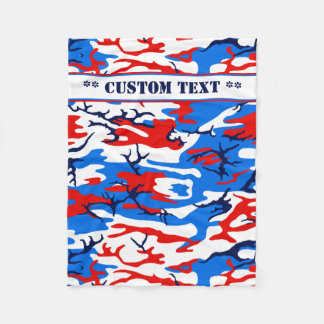 Red White and Blue Camo w/ Custom Text Fleece Blanket