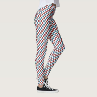Red White and Blue Checker Pattern Leggings